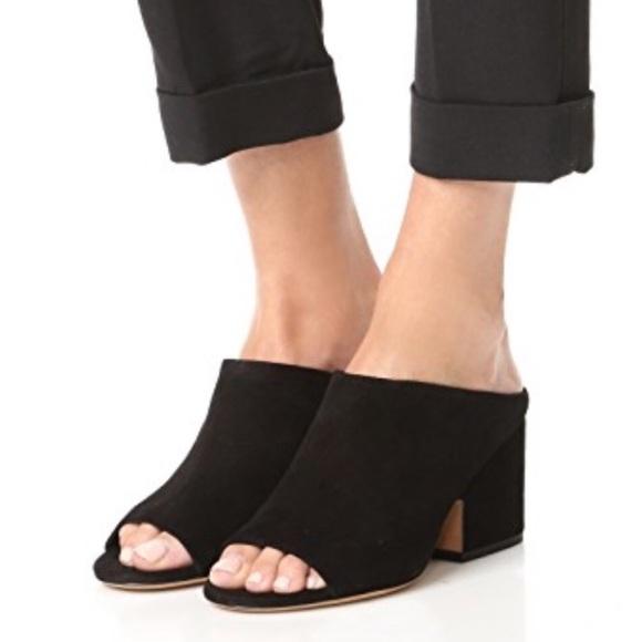 Vince Petra Black Suede Mule Sandals